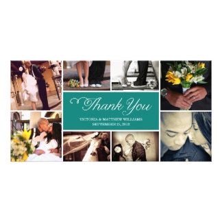 SWEET SCRIPT COLLAGE   WEDDING THANK YOU CARD PHOTO CARDS