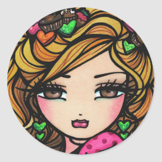 """""""Sweet Selena"""" Fairy Fantasy Valentine Round Sticker"""