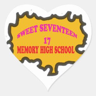 Sweet Seventeen 17in memory High Scholl Heart Sticker