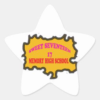 Sweet Seventeen 17in memory High Scholl Star Sticker
