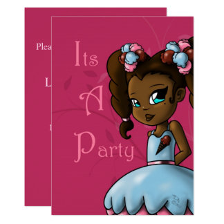 """Sweet Sherbet Ebonie Birthday Invitation"" ""5 x 7"" Card"