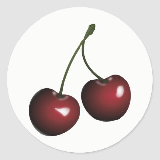 Sweet Shiny Pair of Red Cherries Classic Round Sticker