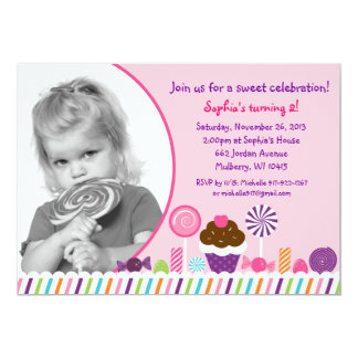 Sweet Shop Candy Girls Photo Birthday Invitation