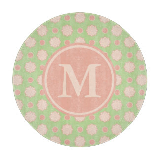Sweet Shop Flower Puffs on Green Monogram Cutting Board
