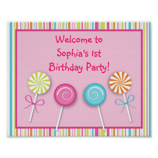 Sweet Shop Lollipop Birthday Baby Shower Sign