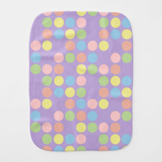 Sweet Shop Polka Dots on Lavender Personalized Burp Cloth