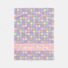 Sweet Shop Polka Dots on Lavender Personalized Fleece Blanket