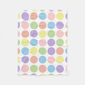 Sweet Shop Polka Dots on White Fleece Blanket
