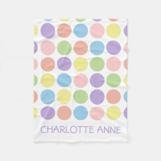 Sweet Shop Polka Dots on White Personalized Fleece Blanket