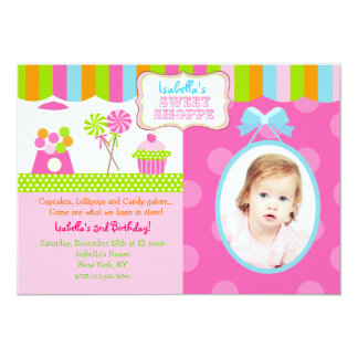 Sweet Shoppe Candy Photo Birthday Party Invitation