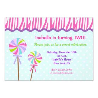 Sweet Shoppe Lollipop Birthday Party Invitations