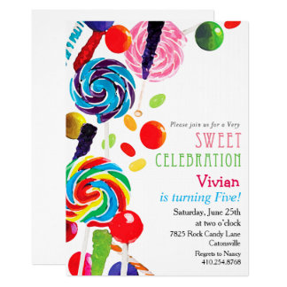 Sweet Shoppe Shop Candyland Birthday Invitation