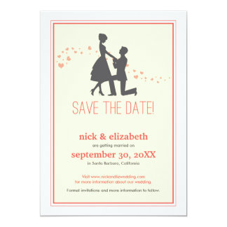 Sweet Silhouette Proposal Save the Date (coral) Card
