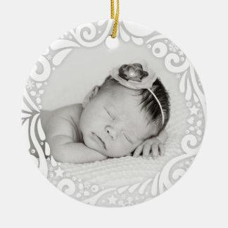 Sweet Simple White Swirl Design | custom photo Round Ceramic Ornament