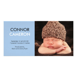Sweet Simplicity Baby Birth Announcement - Blue Custom Photo Card