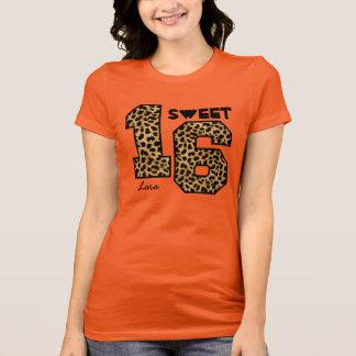 Sweet Sixteeen 16 Birthday Leopard Custom Name V0A T-Shirt
