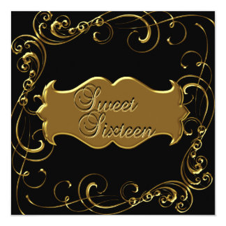Sweet Sixteen 16 Birthday Elegant Black Gold Card