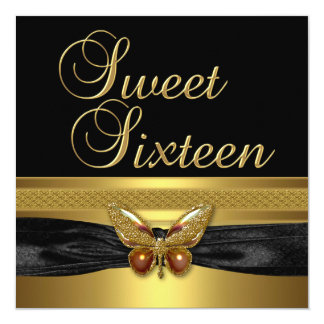 Sweet Sixteen 16 Birthday Party Butterfly Gold Card