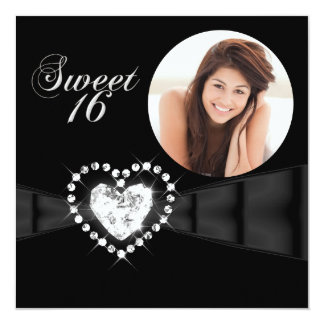 "Sweet Sixteen 16 Birthday Party Photo Black 5.25"" Square Invitation Card"