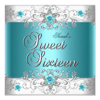 "Sweet Sixteen 16 Birthday Party Teal Blue Diamond 5.25"" Square Invitation Card"