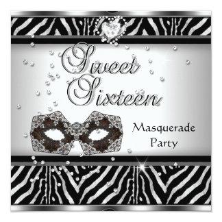 "Sweet Sixteen 16 Birthday Party Zebra Masquerade 5.25"" Square Invitation Card"