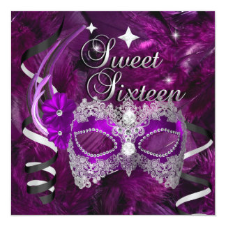 Sweet Sixteen 16 Birthday Purple Diamond Mask Card
