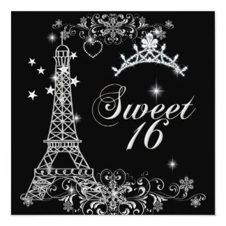 "Sweet Sixteen 16 Black Silver Glitter Eiffel Tower 5.25"" Square Invitation Card"