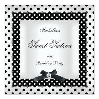 Sweet Sixteen 16 Black White Polka Dot Image 2 Card