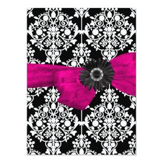"Sweet Sixteen 16 Damask Black White Pink Flower 6.5"" X 8.75"" Invitation Card"