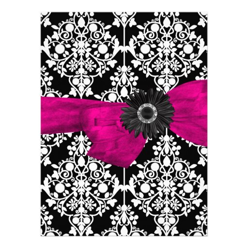 Sweet Sixteen 16 Damask Black White Pink Flower Announcement