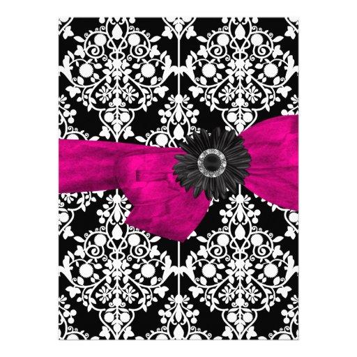Sweet Sixteen 16 Damask Black White Pink Flower Announcement