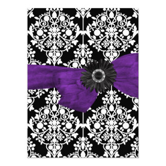 "Sweet Sixteen 16 Damask Black White Purple Flower 6.5"" X 8.75"" Invitation Card"