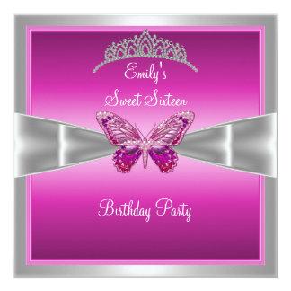 Sweet Sixteen 16 Fushia Pink Silver Tiara 2 Card