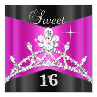 Sweet Sixteen 16 Hot Pink Black Silver Tiara Card
