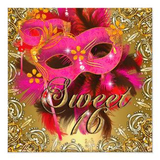 "Sweet Sixteen 16 Masquerade Coral Pink Gold 5.25"" Square Invitation Card"