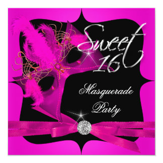 Sweet Sixteen 16 Masquerade Hot Pink Personalized Invite