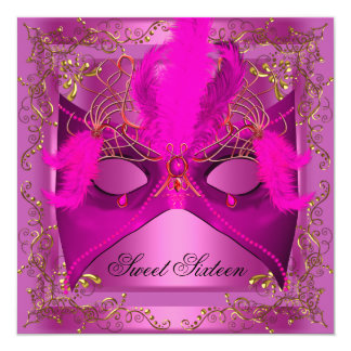 """Sweet Sixteen 16 Masquerade Party Pink 5.25"""" Square Invitation Card"""