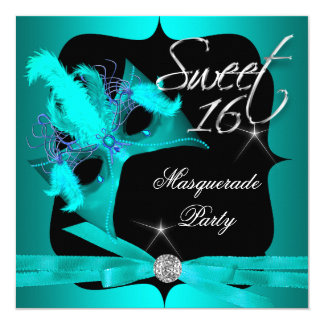 """Sweet Sixteen 16 Masquerade Teal Blue 5.25"""" Square Invitation Card"""