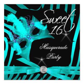 "Sweet Sixteen 16 Masquerade Teal Zebra 5.25"" Square Invitation Card"