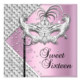 Sweet Sixteen 16 Pink Silver Masquerade Mask Invite