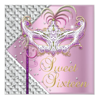 Sweet Sixteen 16 Pink White Masquerade Mask Personalized Invites