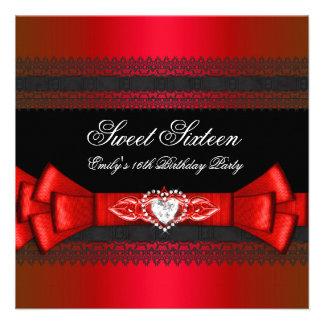 Sweet Sixteen 16 Red Black Diamond Bow Invite