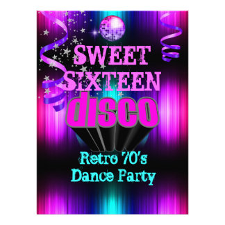 Sweet Sixteen 16 Retro 70 s Disco Dance Party 2 Invite