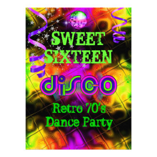 Sweet Sixteen 16 Retro 70 s Disco Dance Party Personalized Invites