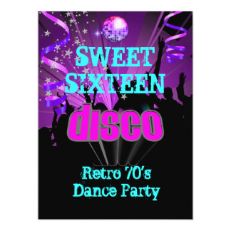 "Sweet Sixteen 16 Retro 70's Disco Dance Party 3 6.5"" X 8.75"" Invitation Card"
