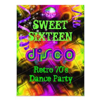 "Sweet Sixteen 16 Retro 70's Disco Dance Party 6.5"" X 8.75"" Invitation Card"