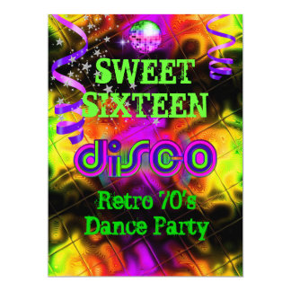 Sweet Sixteen 16 Retro 70's Disco Dance Party Card