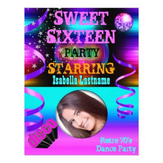 Sweet Sixteen 16 Retro 70's Disco Dance Party Flyer