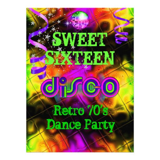 Sweet Sixteen 16 Retro 70's Disco Dance Party Personalized Invites