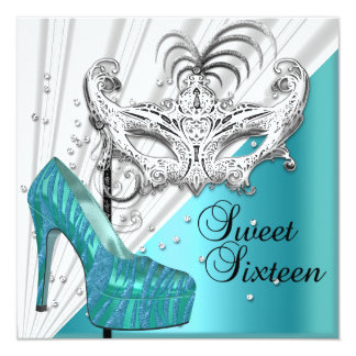 """Sweet Sixteen 16 Teal Silver Masquerade Mask 2 5.25"""" Square Invitation Card"""